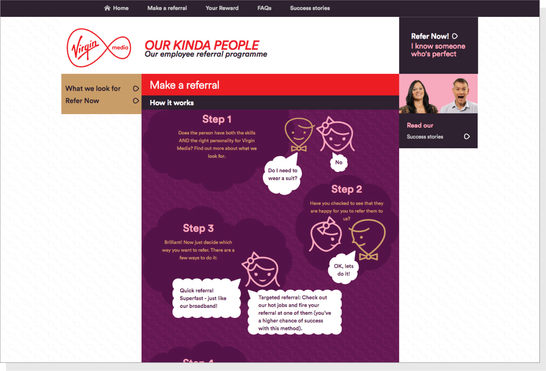 virgin media employee referral website